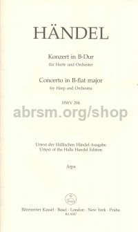 Concerto for Harp in Bb Op 4 No 6 HWV 294 Pedal Harp Solo Part
