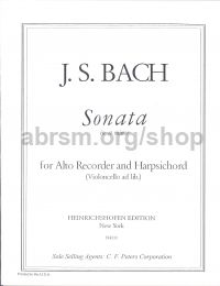 Sonata in A Minor BWV 1020 Recorder & Piano