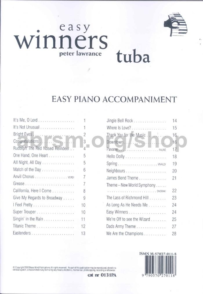 Various - Easy Winners for Tuba (Bass Clef) (Piano Accompaniment)