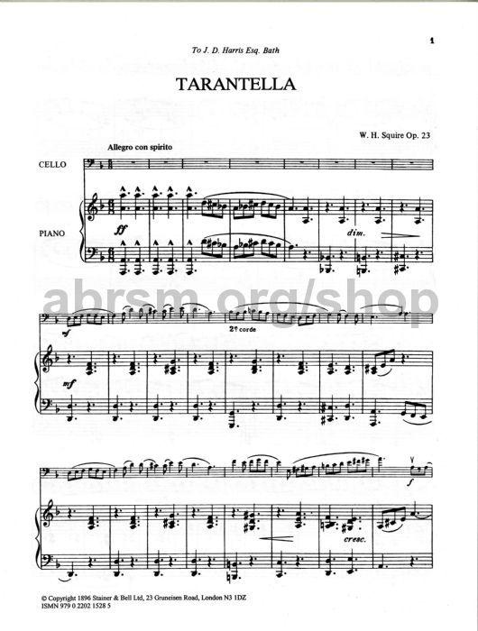 William Henry Squire Tarantella For Cello Op 23