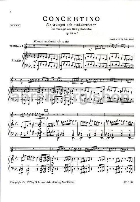 Lars-Erik Larsson - Concertino for Trumpet, Op  45 No  6 - trumpet